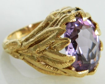 Vintage Amethyst Ring in 18K Yellow Gold size 7.5