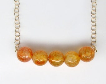 20% OFF VALENTINE SALE gold orange agate necklace, orange agate bead necklace, burnt orange bib necklace, authentic orange agate necklace, o