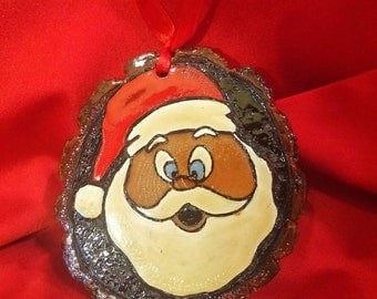 Woodburned tree slice Christmas ornament with Santa hand painted