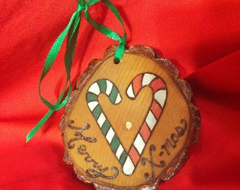 Woodburned tree slice Christmas ornament with candy canes hand painted