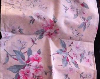 Fabric Remnants, Vintage Floral Fabric Remnant, 53x14.5 Inch Fabric Piece, Vintage Floral Fabric