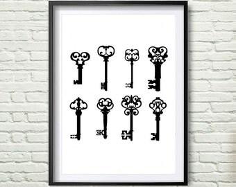Black Key Print, Black and White Wall Art, Black Keys, Key Print, Key Art, Black and White Key Print, Wall Art, Instant Download *136*
