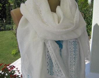 Embellished Off White Linen Shawl, Bridesmaid Shawl, Lace, Linen Fabric Shawl Scarf, Long Wedding Shawl, Bridesmaid Scarf, Summer, Bridal