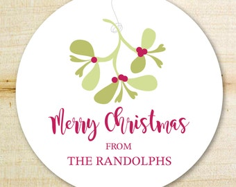 Christmas Gift Sticker | Christmas Labels | Mistletoe Personalized Holiday Gift Tags, Holiday Labels | Custom Christmas Stickers