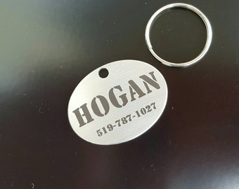 Pet ID Tag, Dog tag Stainless Steel Laser Engraved Oval