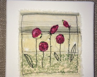 Floral design machine embroidered fabric wall art box canvas