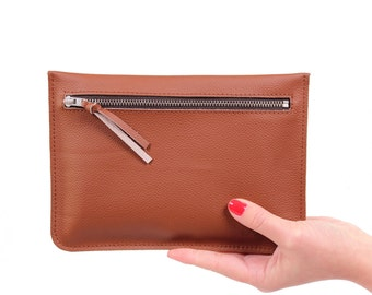 "Flat clutch ""Feli"" Brown / / real leather"