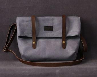 Waxed canvas bag EMMA light grey