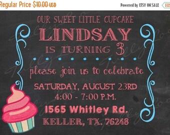 ON SALE Cupcake Birthday Invitations Cupcake party invitations Custom party invitations Our little cupcake Digital Birthday Invitation Set