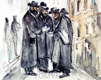 POLAND. KRAKOW. JEWS. Poland Jewish Art.  Krakow Wall Art. Poland painting of Jews.    Original watercolor painting.