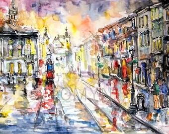 Lviv. The whole palette of the city. Ukraine. Original watercolor  painting.