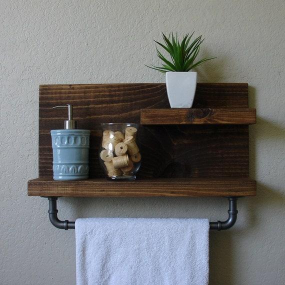 Modern rustic 2 tier bathroom shelf with 18 industrial by - 2 tier bathroom shelf with towel bar ...