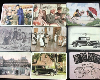 Set of 10 Vintage-style Postcards Note Cards of excerpts from European and American adverts and posters