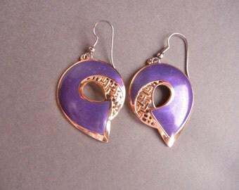 Purple Berebi earrings, Edgar Berebi earrings, statement earrings, purple enamel earrings, vintage purple enamel earrings, openwork earrings