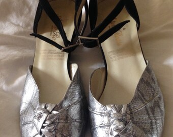80s does 40s Leather Wedge Sandals Size UK 5