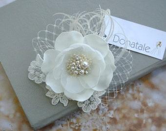 Wedding Hair Flower,Bridal headpiece, Wedding Hair piece, Flower fascinator,Bridal hair piece, Bridal hair flower, Wedding hair  - MERYL