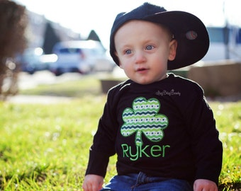 Embroidered St. Patricks day baby boys black shirt green clover shamrock