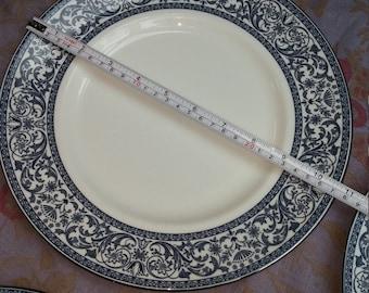 6 Minton Dinner Plates 10.5 Inch English Minton Infanta Discontinued Pattern Blue White Platinum Large Fine Bone China Plates 1980s