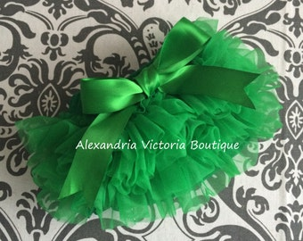 GREEN BLOOMER with BOW, chiffon ruffle diaper cover, photo prop, newborn ruffle bloomer, several colors to choose from, chiffon ruffle.