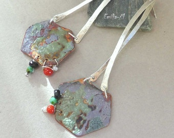 Chic Boho Silver and torch fired enamel copper earrings - Artisan Jewelry by Emilia-M