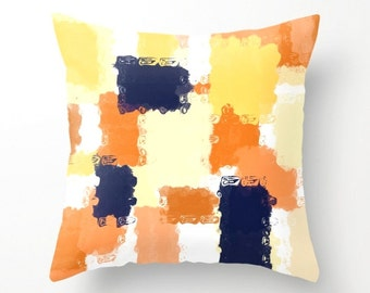 Throw Pillow Cover, Cushion Cover, Abstract Art, Navy Orange Yellow White (A13) Decorative Pillow Cover Euro Sham Cover