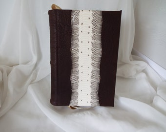 Leather Bound Journal, White and Black Snake Skin over Brown Leather