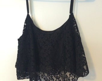 Black Lace Summer Crop Top