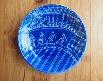 Jewellery bowl ring dish royal blue with henna-inspired design jewellery storage