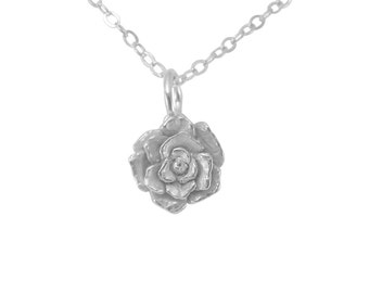 Mini Rose Necklace, Rose Necklace, Sterling Silver Necklace, Handmade