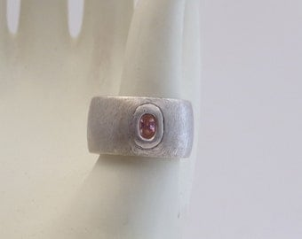 Thick Band Brushed Silver Ring with Rose Quartz Stone