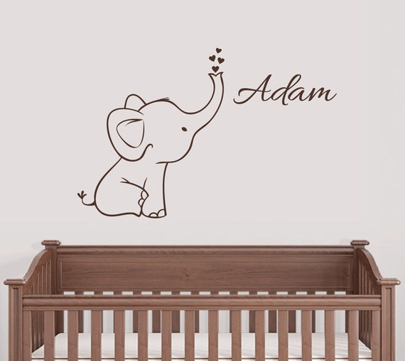 Free Shipping Personalized Elephant Wall Decal Nursery Decor
