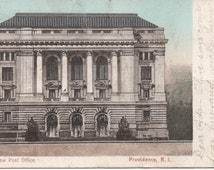 Used 1906 Postcard of the New Post Office, Providence, Rhode Island, fair shape