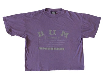 Vintage B.U.M. Equipment Purple Grey T-Shirt Large 90s Made in USA Streetwear
