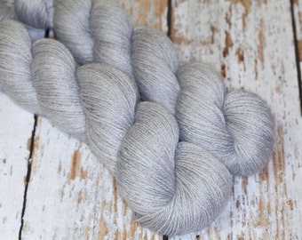 Lux Hand Dyed Filolious Fingering Sock Yarn Alpaca/Silk/Cashmere in Cloud Gray