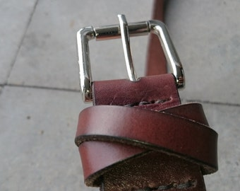 Brown leather  'x-loop'  belt