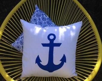 Anchor Nautical Cushion, 45cm White with Reversible Navy Mexicala design screenprint