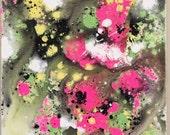 Abstract Neon Art Fluid Painting Yellow Pink Art Flow Painting Neon Wall Hanging Large Neon Art Original Acrylic Art 18 x 24 canvas