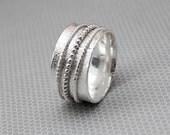 Sterling Silver Meditation Ring - Spinner Ring for Women