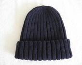 Navy blue hat, wool toque, watch cap, ribbed knit, hand knit, navy hat, sailors hat, workmans cap, blue knit hat, knit toque, workmans hat,