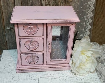Jewelry Box, Shabby Chic Jewelry Box, Pink Jewelry Box, Vintage Jewelry Box, Pink, RobinsStudio, Shabby Chic, Recycled Box, Vintage, Rustic