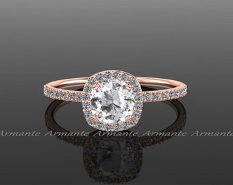14k Rose Gold Halo Diamond White Sapphire Engagement Ring Cushion Cut Wedding Ring,  Re00082