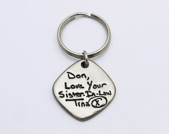 Personalized Handwriting Keychain, Rustic Metal Keychain, Memorial Keychain, Handwriting Key Chain, Signature Keychain, In Memory Of, Square