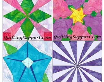 Flower Set 1 Paper Foundation Piecing Quilting 4 Block Patterns PDF