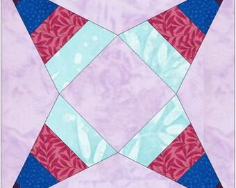 Priscilla 4 Stripe Paper Template Quilting Block Pattern PDF