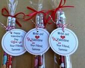 Classroom Valentines, Personalized Valentine tags, Classroom Valentine treats, Valentine treat tags, Valentine pencils, LAST SET OF 18!!