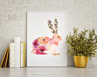 INSTANT DOWNLOAD | Floral Bunny Printable | Bunny Wall Art | Rabbit Nursery Art Print | Floral Watercolor Rabbit Art Print | Nursery Art |