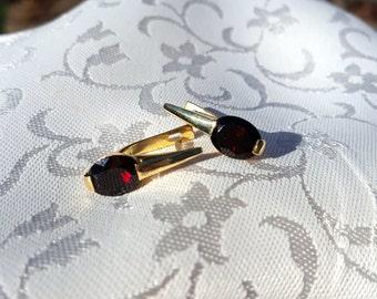 Custom-made Garnet and 18k Yellow Gold Earrings w/Lever Backs - EB411