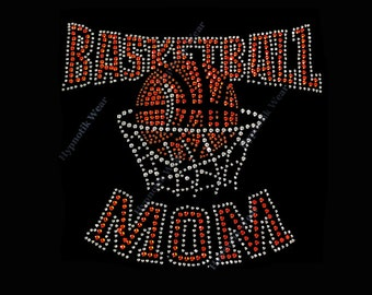 "Rhinestone Transfer ""Basketball MOM "" Hotfix, Iron On, Bling"