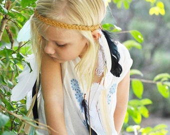 Girls Grace with Mint Feather Headpiece
