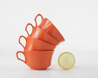 Vintage Orange Melamine Cups, Allied Chemical Melamine, Melmac Cups, Plastic Dinnerware, Retro Dinnerware, Melmac Dishes, Mid Century